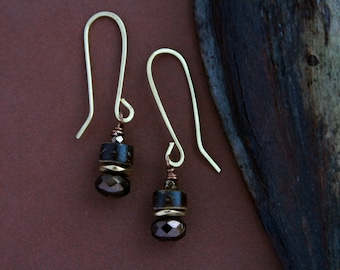 small hammered brass earrings with coconut shell and glass - rustic jewelry - brown dangle earrings