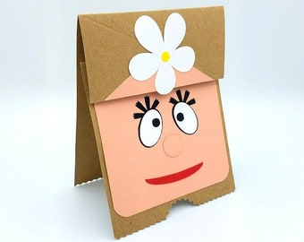 Flower Girl Card, Paper Bag Puppet Card, Card for Girl, Foofa, Yo Gabba Gabba, Child Birthday Card, Child Birthday Card, Puppet Card,