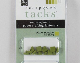 DOLLAR SALE - Chatterbox Scrapbook Tacks - Olive Square #AA229.15