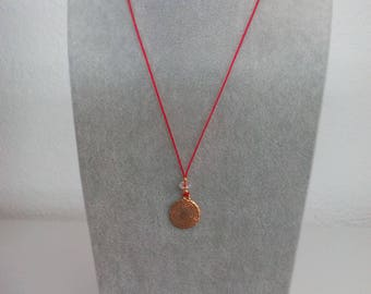 Thread necklace with printed pendant The prayer of our father, with Swarovski-type crystal and gold filled closure