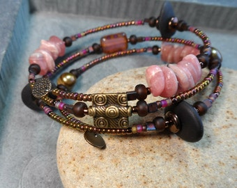 Sweet pink  rhodochrosite  and Maine sea stone pebble wrap around adjustable funky fun eco friendly fashion bracelet sea style and natural