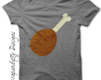 Turkey Leg Iron on Shirt - Food Iron on Transfer / Chicken Leg Shirt / Ren Fair Shirt Design / Men Clothing Tshirt / Ren Fair Print IT43