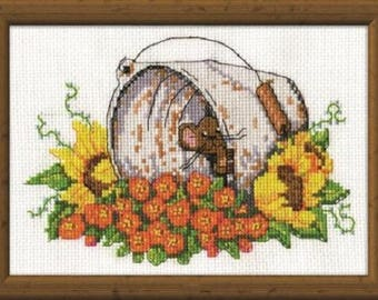 Cross Stitch Kit from Design Works 2951 , Bucket Mouse range , Counted Cross Stitch, Cross stitch kit, mouse animal kit, embroidery kit