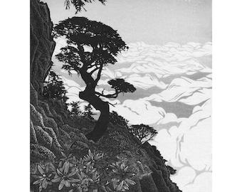 Trail to Chiyou Peak Woodblock Print