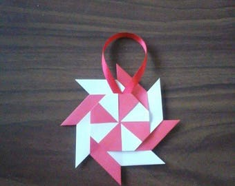 Set of 5 red and white origami stars