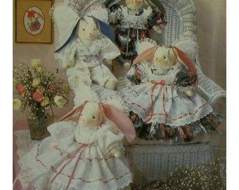 "Lace Trimmed Bunnies Pattern, Stuffed Rabbits, Angel Wings, Old-Fashioned Dresses, Simplicity No.7044 UNCUT Size 18"" (45.5cm) High"