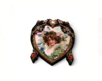 Heart Brooch, Valentines Illustration, Wood Jewelry