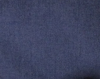 SOLID Indigo blue textured linen/cotton/poly blend multipurpose fabric