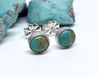 Gemstone Stud Earrings - Turquoise - Sterling Silver - Turquoise Jewelry - Stud Earrings For Women - Real Turquoise Tiny Studs