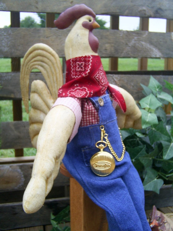 OOAK Doll - Cock-a-doodle-roo 27in Country Farm Rooster Handcrafted Collectible Doll