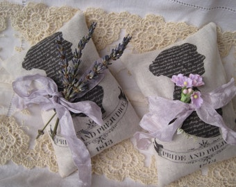 Jane Austen Pride and Prejudice lavender sachets gift set of 2, FREE USA SHIPPING, mothers day, book club, wedding, bridal,  shower