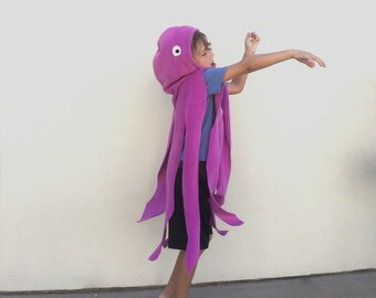 Purple Octopus Cape, Halloween Costume or Dress Up Cape