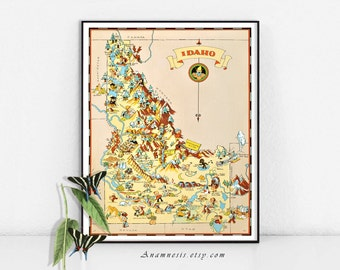 Vintage IDAHO MAP - Instant Digital Download - vintage picture map for framing, totes, pillows, mugs, crafts - fun retro wedding map art