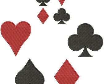 Collection Machine Embroidery Designs Instant Download -Playing Card Suits (Spade Heart Diamond Club)