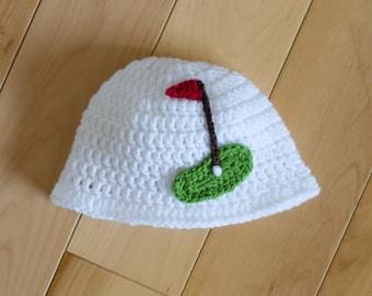BABY GOLF HAT Baby Girl Golf Beanie, Baby Boy Golf Hat, Golf Baby Crochet Golf Hat, Knit Golf Hat, Knit Golf Beanie, Newborn Golf Crochet