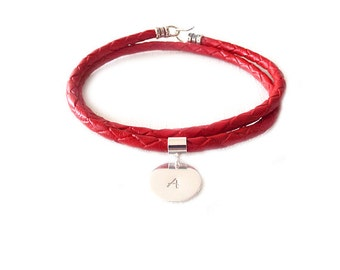 Leather Bracelet, Braided Leather, Handstamped Bracelet, Couple Bracelet, Personalized Jewelry, Monogram Bracelet, Sterling Silver, Red