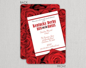 Kentucky Derby Invitation - Derby  Party Invitation - Run for the Roses