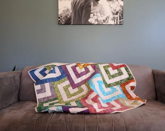 Square Patchwork Quilt, Batik Couch Rug, Lounge Room Colourful Lap Quilt, Handmade Throw, Home Decor