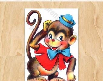 Digital Vintage Image Clipart, 1960's Monkey | CU OK