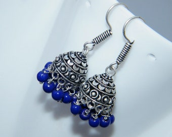 Blue Beads Jhumki, Nepali Boho Handmade Silver Plated Jhumka Earring, Indian jewelry , Bell earrings