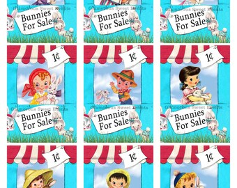 INSTANT DOWNLOAD, Easter cards, Vintage Easter Cards, Easter Labels, Printable Children's Easter Cards, Easter Collage Sheet