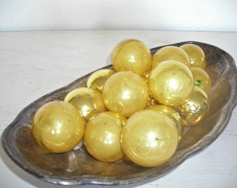 soft gold Christmas ornaments - vintage glass balls - shabby cottage chic - set of 14 ornate hollywood regency bulbs