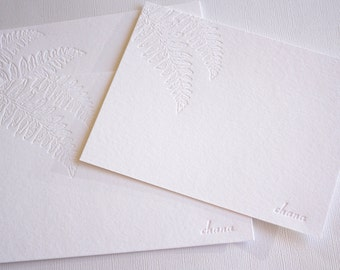 Personalized Letterpress Stationery Kupukupu Fern Botanical