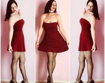 Sale! Strapless Mod Ruby Red Skater Dress, Cranberry Mini Dress, Pinup Dress, Vintage Burgundy Wine Stretch Knit, The CHERI Multiway Dress