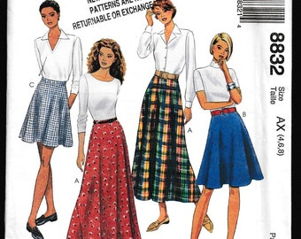 McCall's 8832 Quick and Easy Misses Skirt in Three Lengths