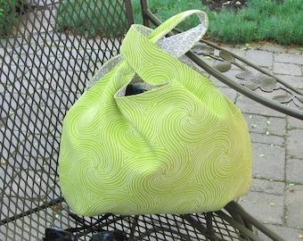 Large knitting bag, crochet project bag, Japanese Knot handbag, Lime green with white swirl design, Gift for Knitter