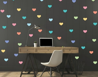 FREE SHIPPING Wall Decal 159 Colorful  Hearts. Nursery Wall Decal.Wall Art. Wall Paper.Vinyl Wall Decal. Diy Wall Decal.