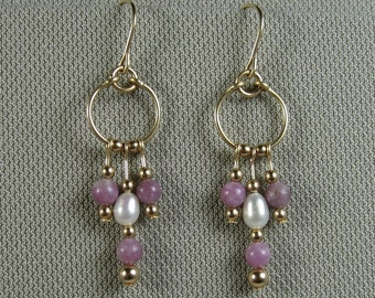 Gold-filled Lepidolite and Pearl Multi-Dangle Hoops