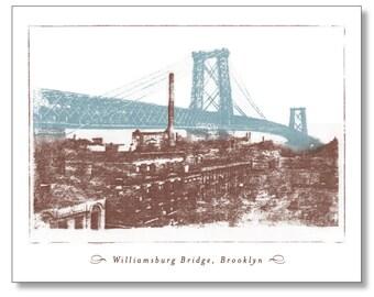 WILLIAMSBURG BRIDGE Note Card. Vintage Design. Domino Sugar Factory. Blank Inside. New York City. Brooklyn Stationery - Handmade.