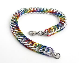 Gay pride chainmaille bracelet, rainbow jewelry, LGBT jewelry, Half Persian 4 in 1 chainmaille