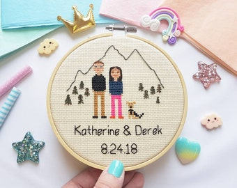 Custom Cross Stitch Family Portrait - Personalized Cross Stitch - Custom Portrait - Stitch Portrait - Cross Stitch Family - Anniversary gift