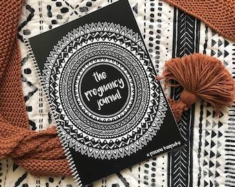 Boho Pregnancy journal record milestone keepsake book monochrome