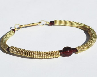 Guitar String Bracelet- Garnet Red Bead & Brass Upcycled Guitar String Jewelry, Guitar Player Gift, Music Jewelry, Acoustic Guitar Jewelry