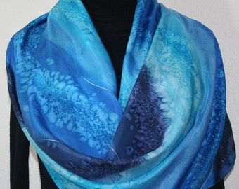 Blue Silk Shawl Hand Painted. Blue, Turquoise & Navy Handmade Scarf SURFING WAVES, in Two SIZES. Anniversary Gift. Free Gift-Wrapping