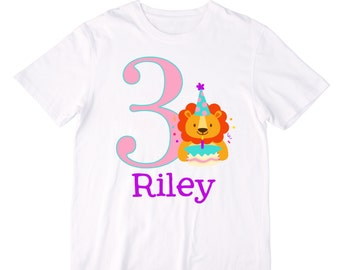Personalized Party Lion Birthday Shirt or Bodysuit - Personalized with ANY Name and Age