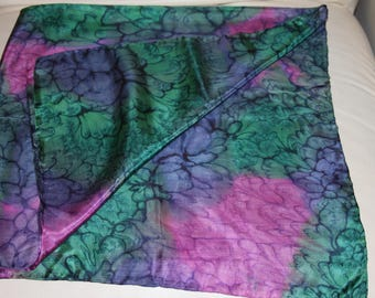 """Watered SILK Scarf - Green and Pink -35 x 35"""""""