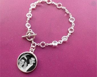 Wedding bracelet -Bridal jewelry - Swarovski Crystal with Circle Photo Charm - keepsake