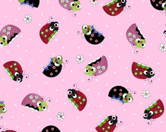 Quilting Treasures - Lazy Little Ladybugs - Pink  fabric by the yard or select cut 24388-P