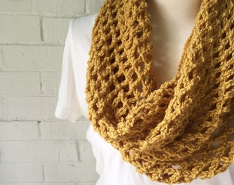 MADISON crochet cowl - mustard - ready to ship