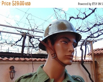 ON SALE Vintage Army Helmet ,Military Helmet , Bulgarian Army Helmet ,Steel Helmet , Vintage Soldier Helmet , Cold War Collectibles,Military