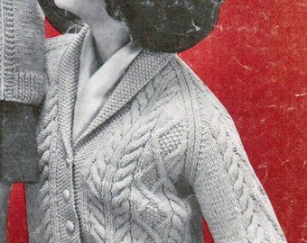 Women's Arran Cardigan Knitting Pattern PDF / Sizes 12 14 16 18  / Shawl Collared Aran buttoned cardigan pattern /  Fisherman's knit sweater