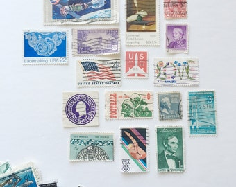 25 Cancelled US Postage Stamps - Randomly Selected - Vintage, Scrapbooking, collage