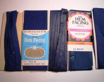 Vintage Seam Binding - Navy Blue