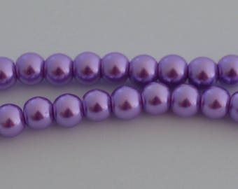 50 glass Pearl 8 mm purple beads