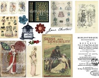 Jane Austen printable  Digital Collage Sheet  Mixed Media  Digital Stamps  ClipArt  Clip Art  Ephemera Pack  Jane Austen Quotes