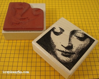 Mary Face Stamp / Invoke Arts Collage Rubber Stamps